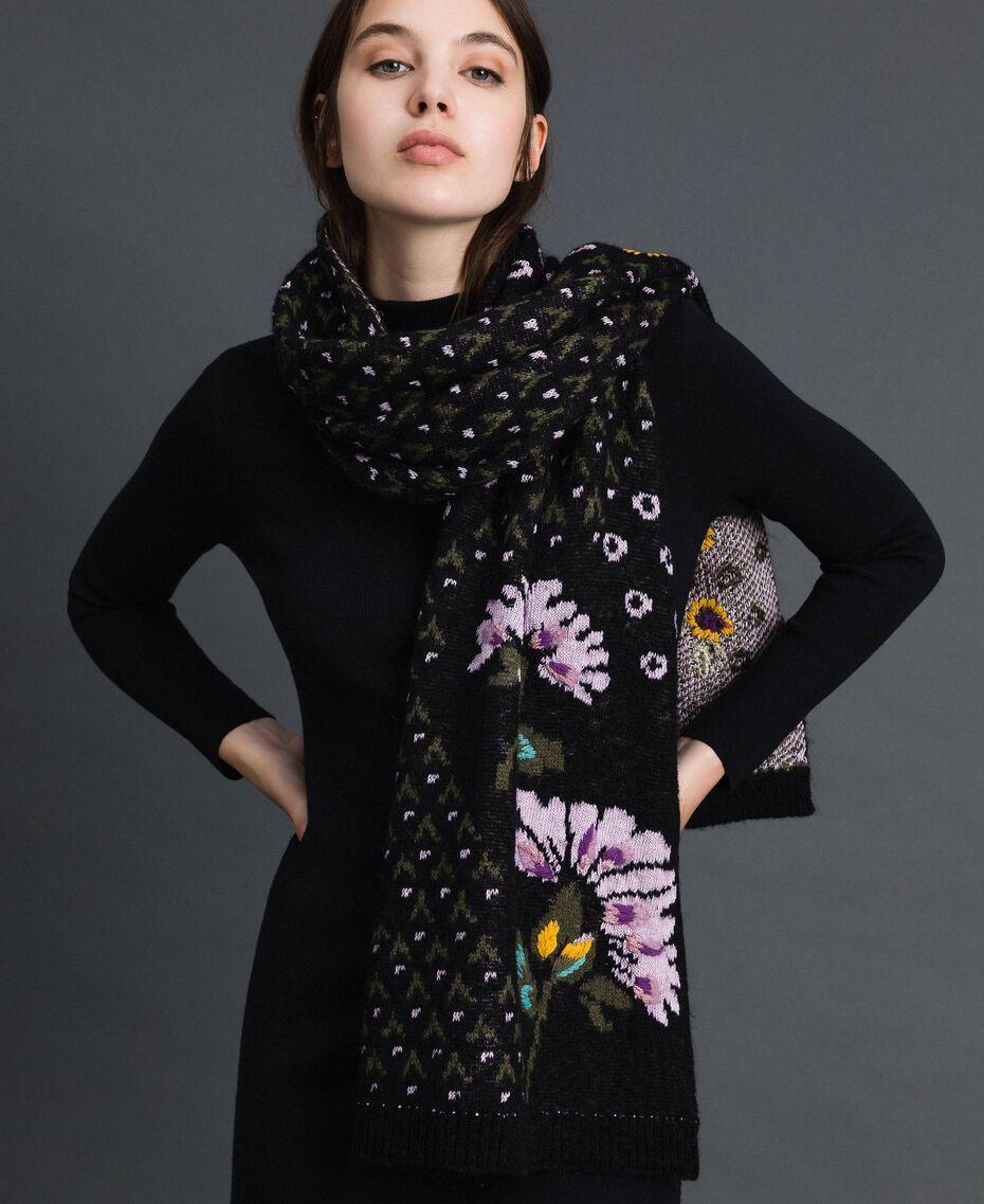 Écharpe jacquard avec fleurs brodées à la main Jacquard Fleurs Multicolore Femme 192TO537A-0S