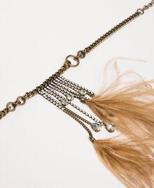 Collier ras-de-cou avec pierres, plumes et strass Rose Bouton Femme 201TA4305-02
