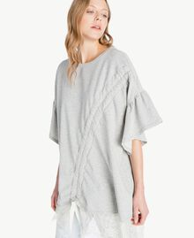 Sweatshirt aus Spitze Hellgrau-Mélange Frau YS82KA-04
