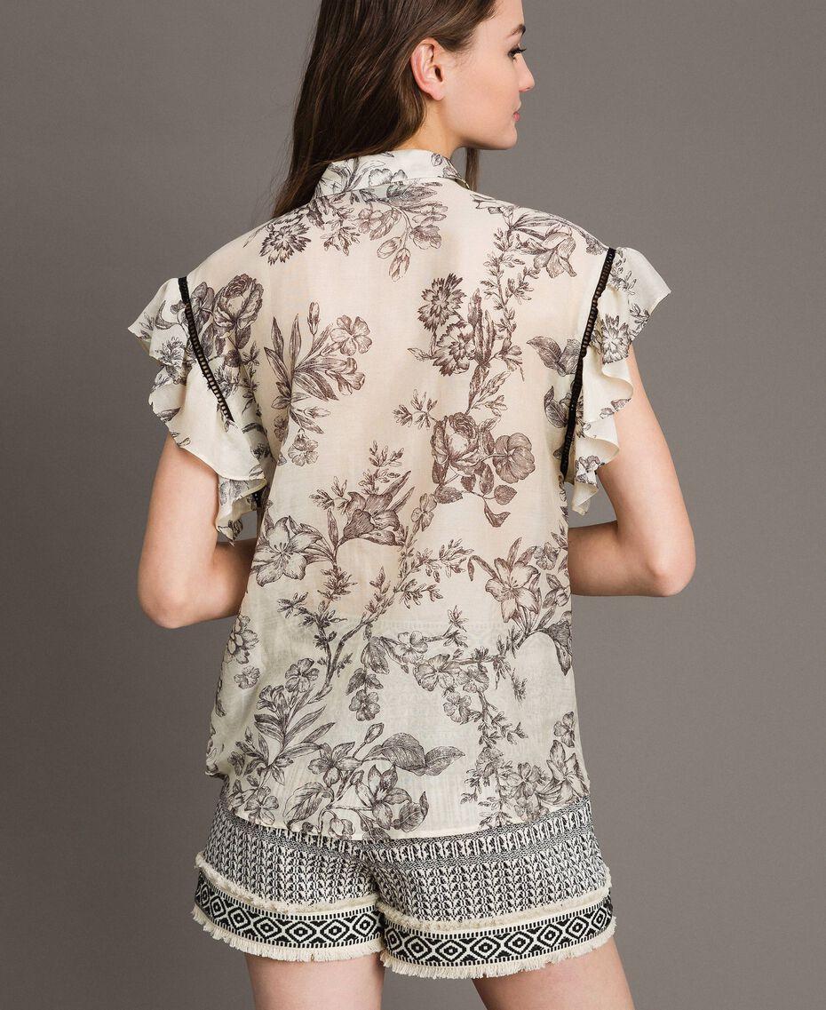 Silk blend printed shirt Toile De Jouy Black Print Woman 191TT2403-03