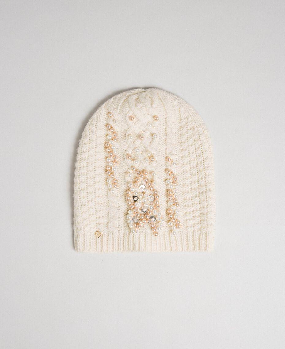 Berretto a trecce con perle e paillettes Bianco Papiro Donna 192TA4411-01
