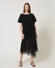Linen blend dress with lace Black Woman 211TT3151-02
