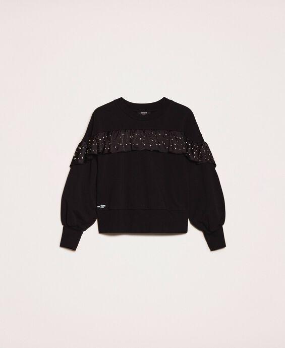 Sweatshirt mit Satinvolant und Nieten