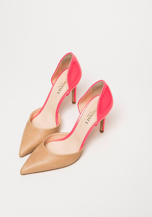 Patent leather and leather court shoes