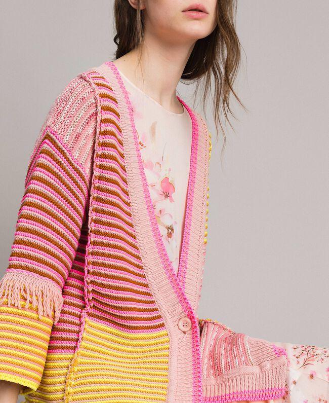 Maxicardigan im Patchwork-Look mit Fransen Streifen Patchwork Pink / Gelb Frau 191TP3310-04