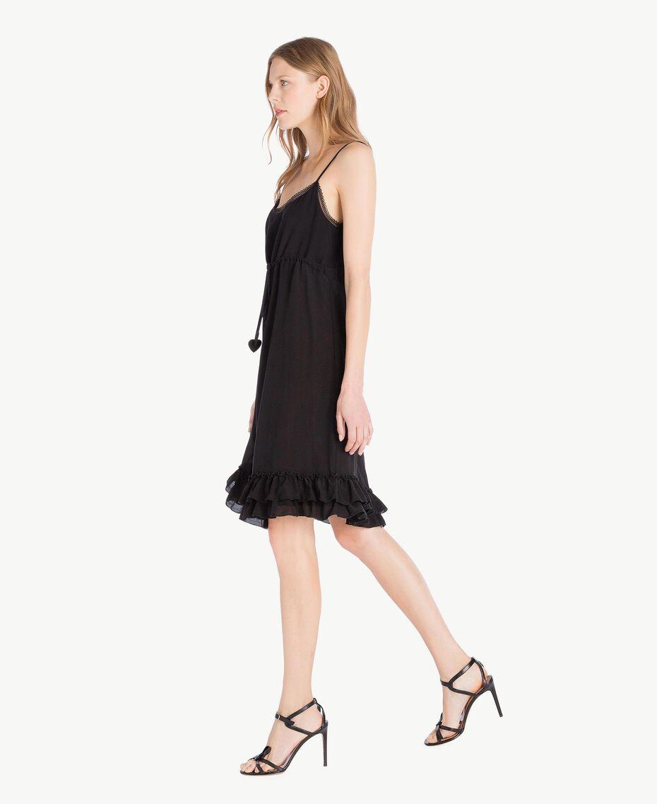Kleid aus Seide Schwarz Frau TS82UA-02