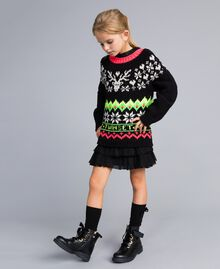 Pull jacquard avec logo Noir Enfant QA8TLD-02