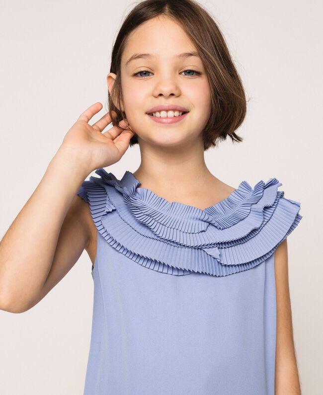 "Georgette dress with pleated ruffles ""Ice"" Dark Blue Child 201GJ2QE0-01"