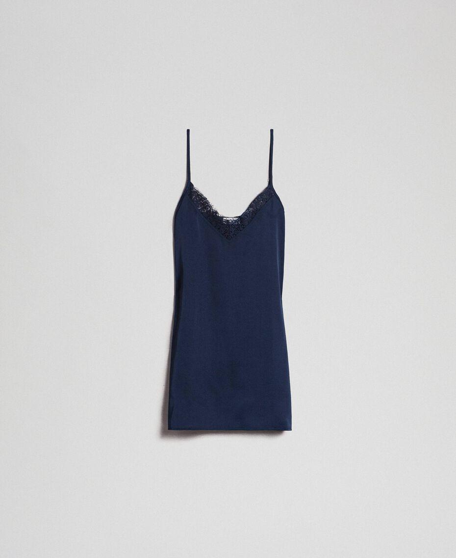 Топ с кружевом и пуговицами сбоку Синий Ночь женщина 192ST2093-0S