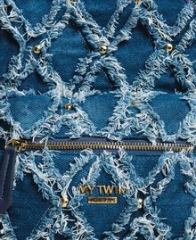 Denim patchwork-effect backpack Arabian Blue Woman 191MA7080-04