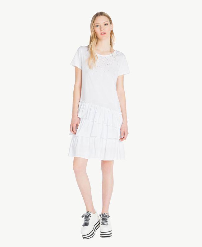 Kleid mit Stickerei Weiß Frau YS82D4-01