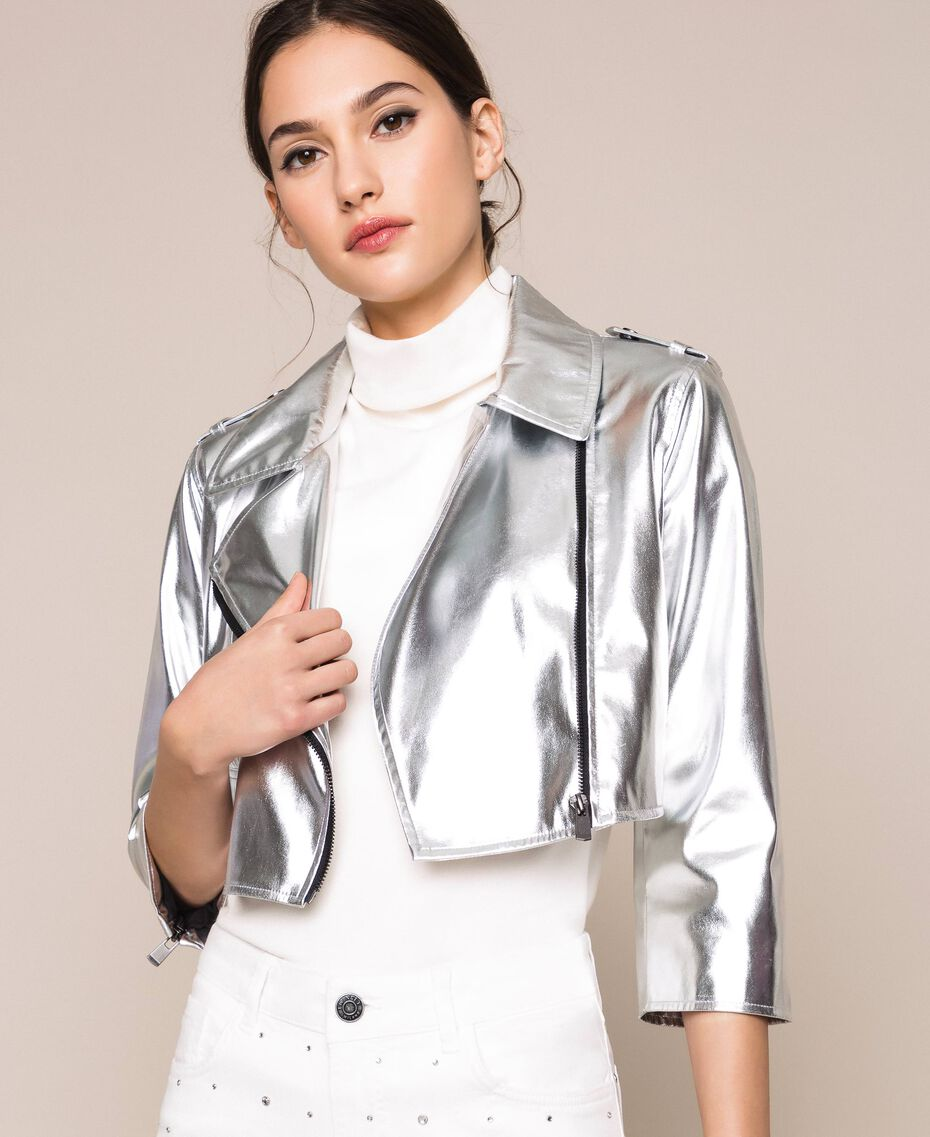 Cropped jacket in metal faux leather Silver Woman 201TP2410-02
