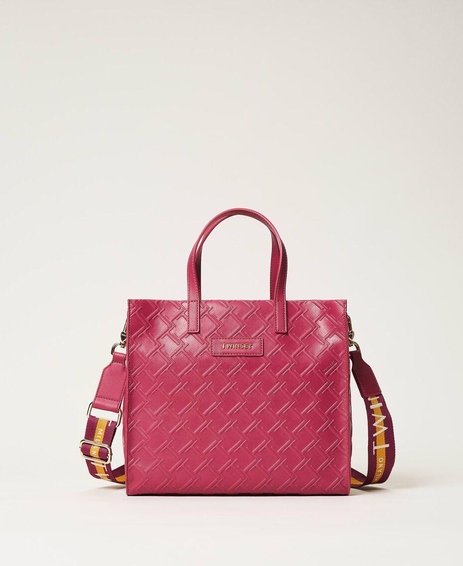 "Borsa shopper Twinset Bag media con logo Viola ""Red Plum"" Donna 202TB7161-01"