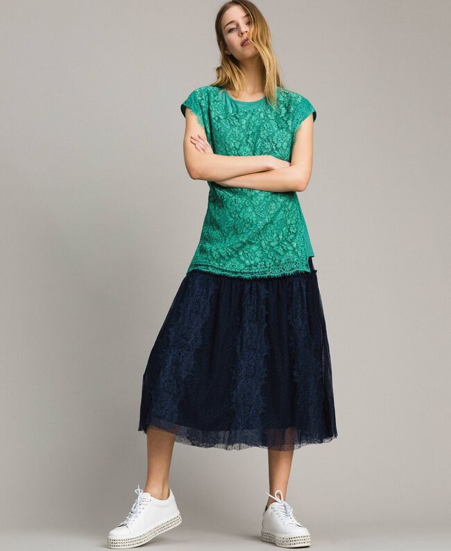 Maxi t-shirt with lace and belt Poppy Red Woman 191ST2061-04