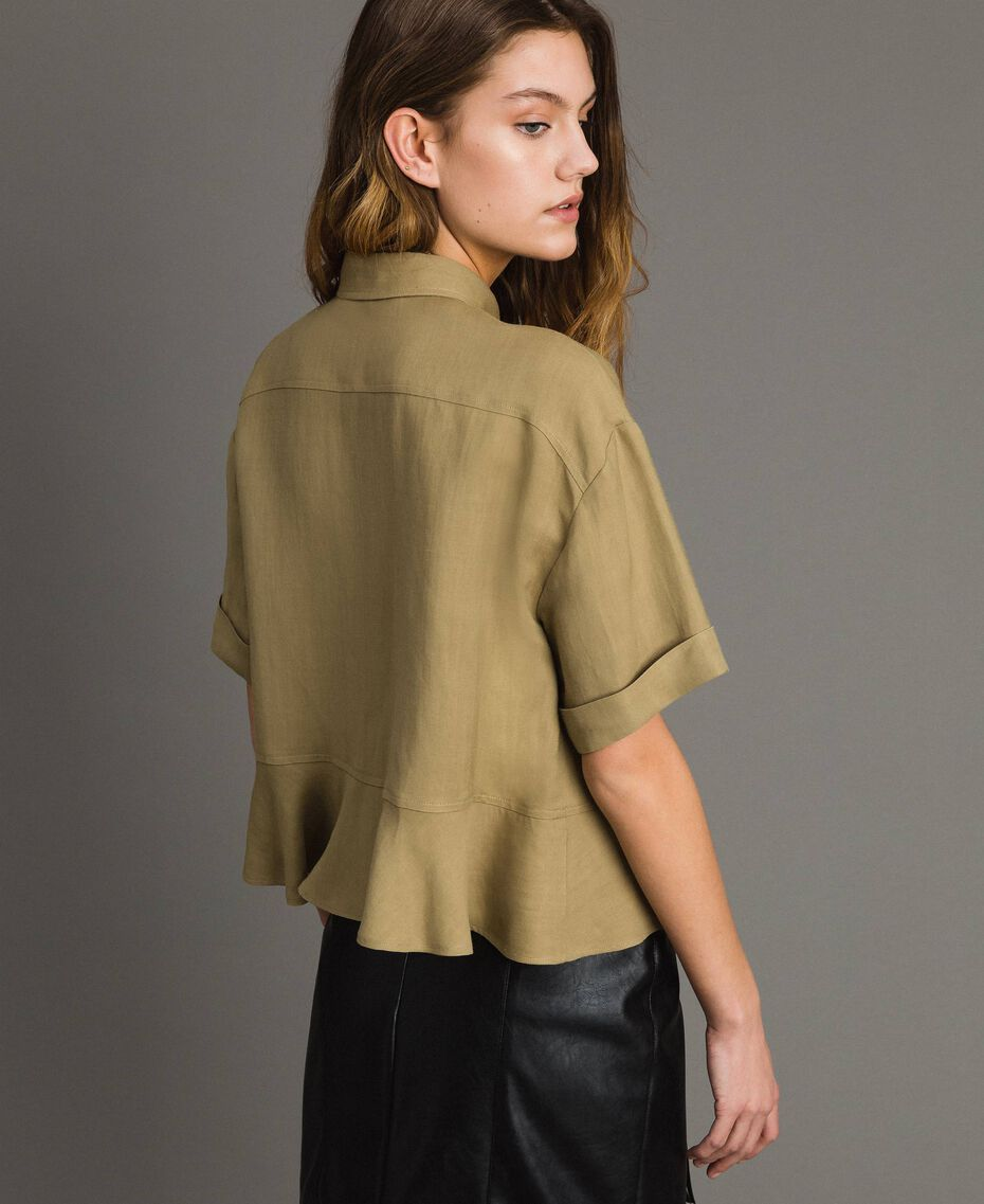 Natural canvas flounce shirt Antique Bronze Woman 191TT2441-03