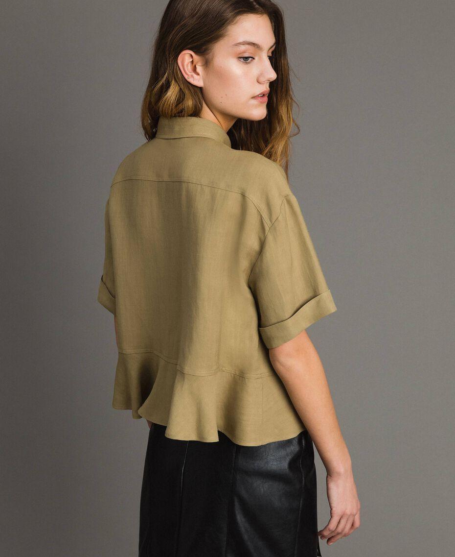 Рубашка из натуральной парусины с оборкой Антикварный Бронзовый женщина 191TT2441-03