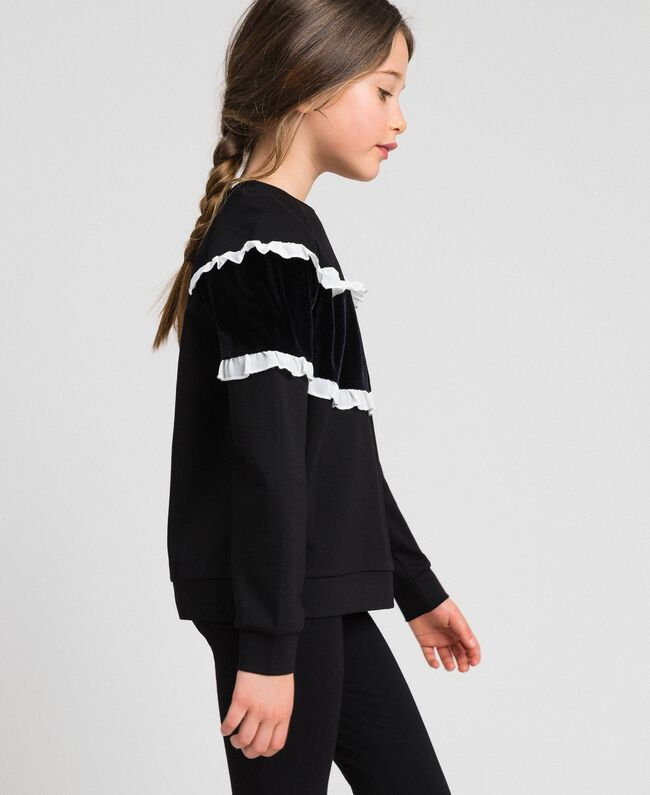 Sweat avec insertion en velours et volants Bicolore Noir / Blanc Enfant 192GJ2469-01