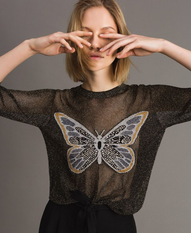 Lurex jumper with butterfly detail Black Lurex Woman 191TT3101-01