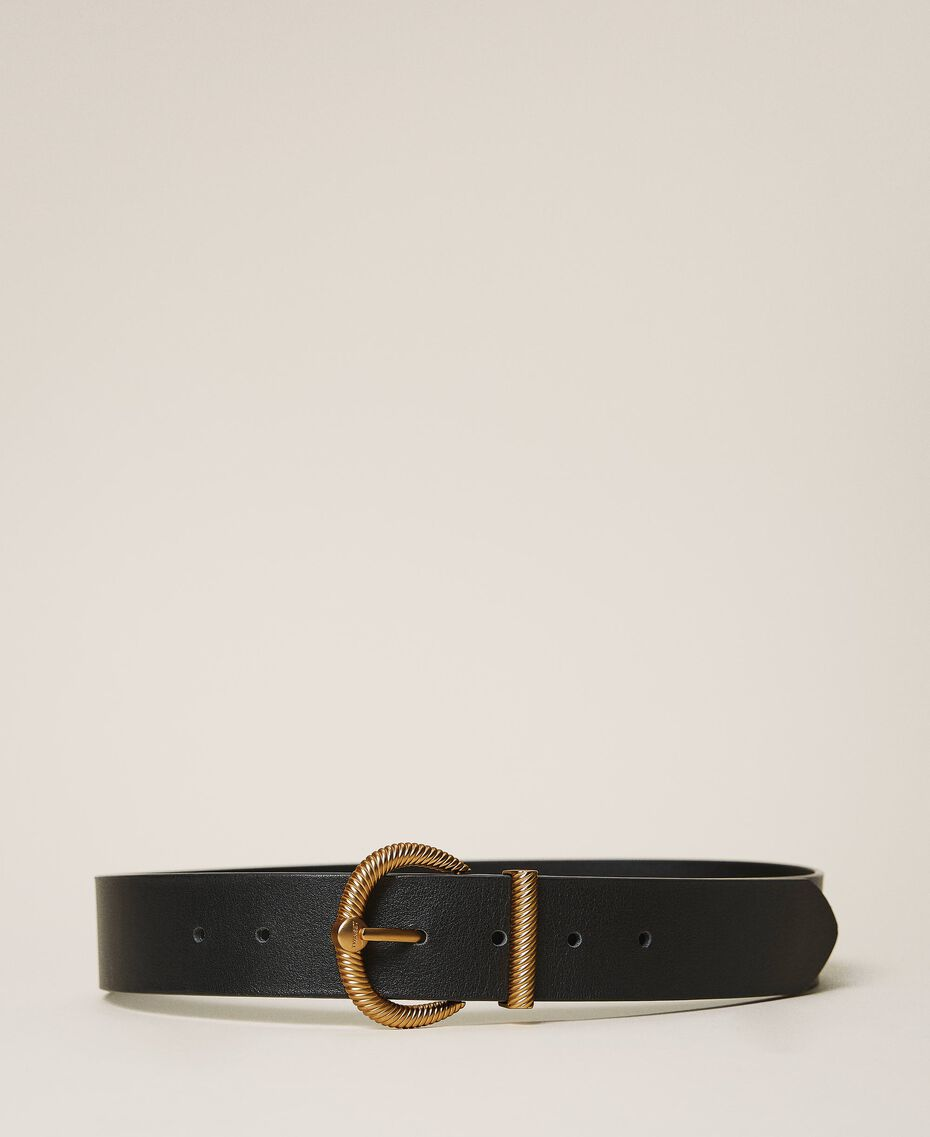 Leather belt with torchon buckle Leather Brown Woman 202TO5011-03