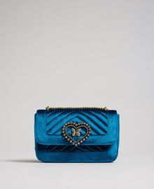 Small velvet shoulder bag Blue Caribbean Blue Woman 192TO8073-01