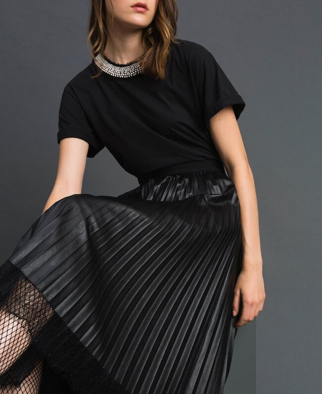 Faux leather pleated midi skirt Black Woman 192TP2064-04