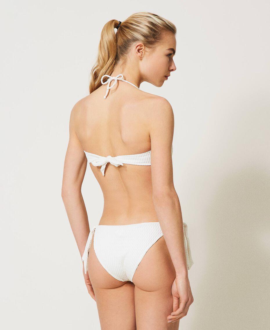 Bikinitanga mit Schleifen und Herz Elfenbein Frau 211LMME88-03