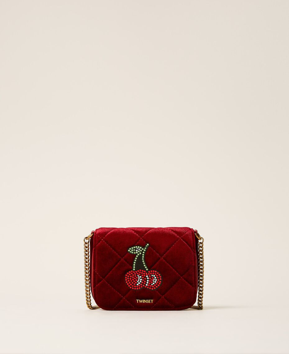 Velvet shoulder bag with patch Venetian Red Woman 202TD8280-03