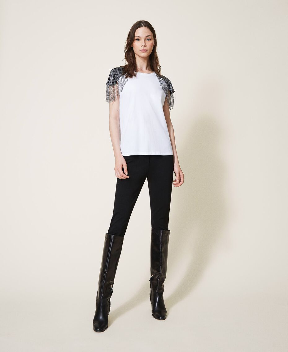T-shirt avec tulle brodé et franges Blanc Femme 202TT246A-01