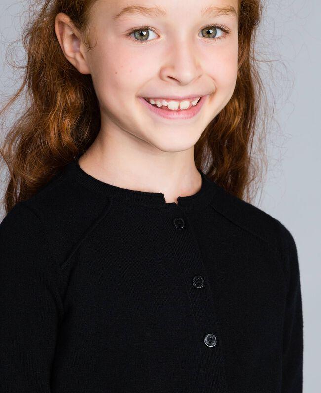 Mandarin collar cardigan Black Child GCN3AB-04