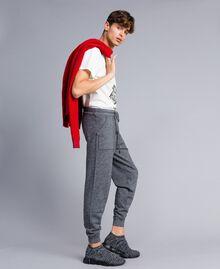 Pantalon de jogging en coton et laine Bicolore Blanc Mat / Noir Homme UA83BC-02