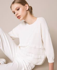 Jumper with stitching and frills White Woman 201ST3063-03
