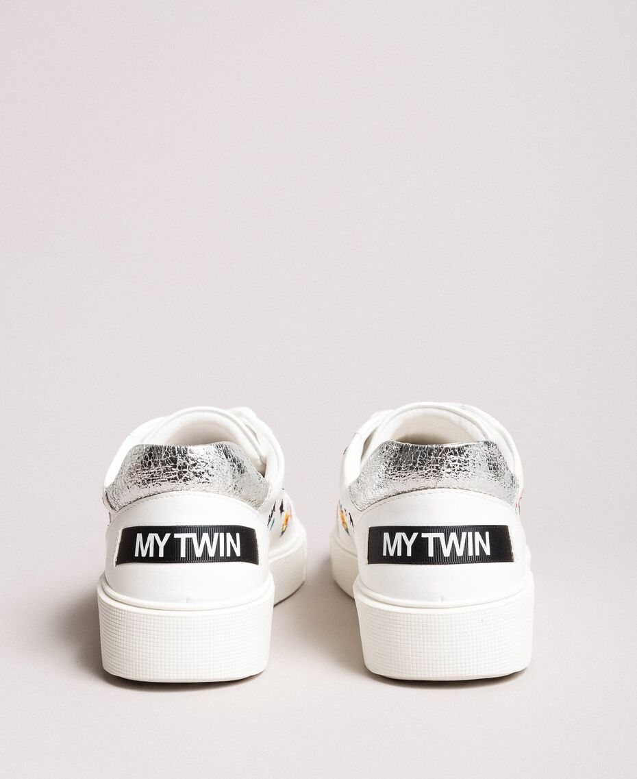 Faux leather sneakers with logo White Cream Woman 191MCP080-05