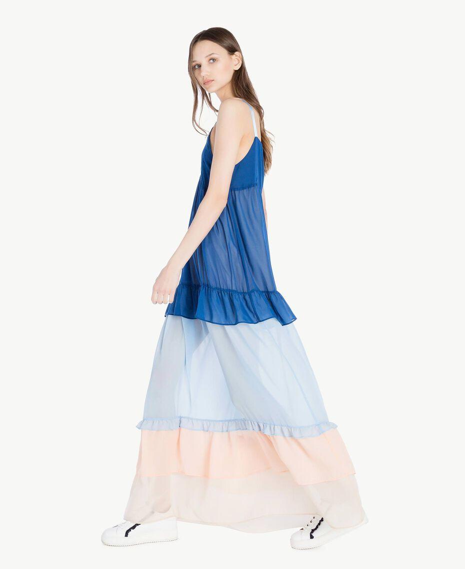 "Langes Kleid mit Volants Multicolor ""Navy Peony"" Frau SS82DD-02"