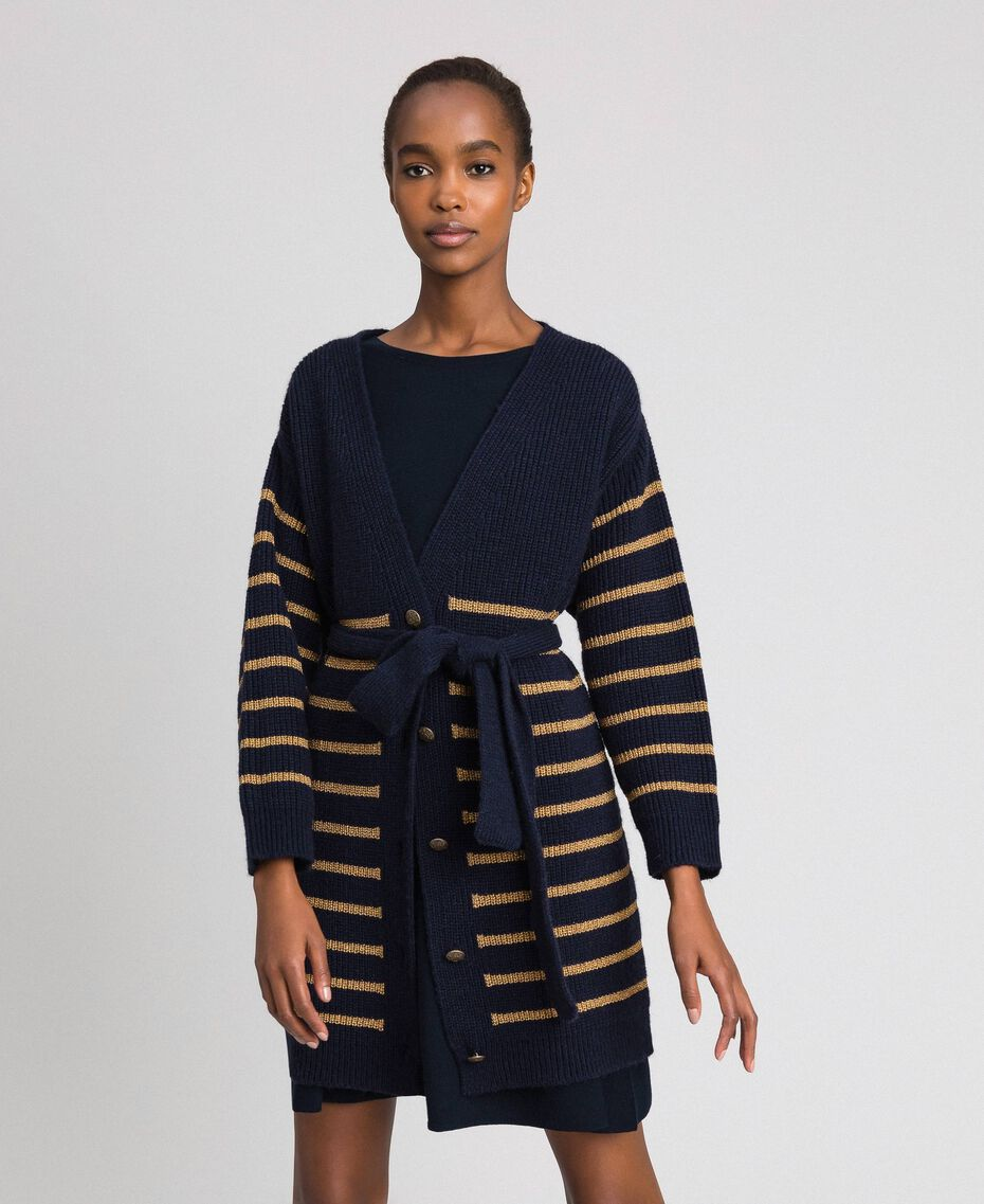 Maxi cardigan in misto lana a righe lurex Rigato Midnight Blue / Oro Scuro Donna 192TT3361-02