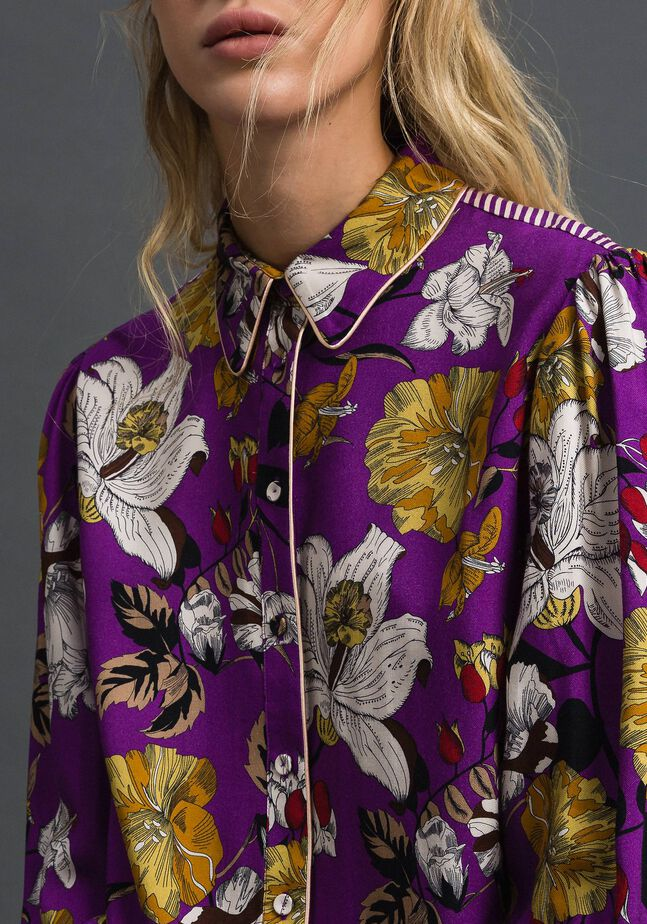 Long shirt with floral print