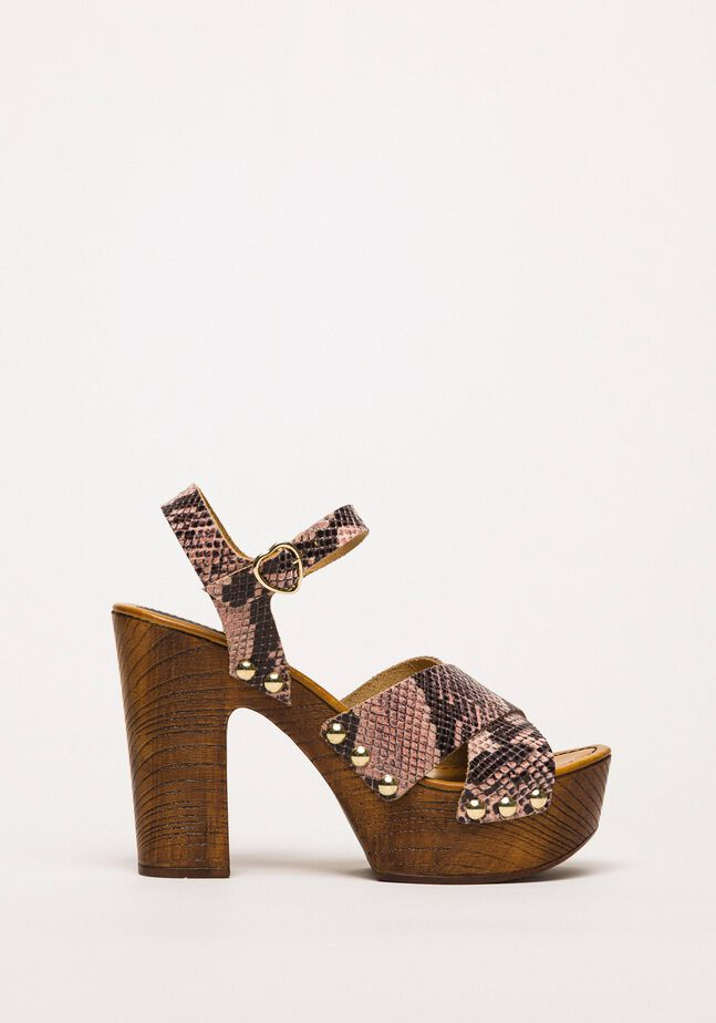 Animal print faux leather clog sandals