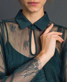 Robe en dentelle de Chantilly avec bas plissé Vert Forêt / Blanc Crème Femme 192ST2110-05
