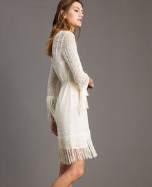 Mesh stitch fringed dress Ecrù Woman 191TT3060-03