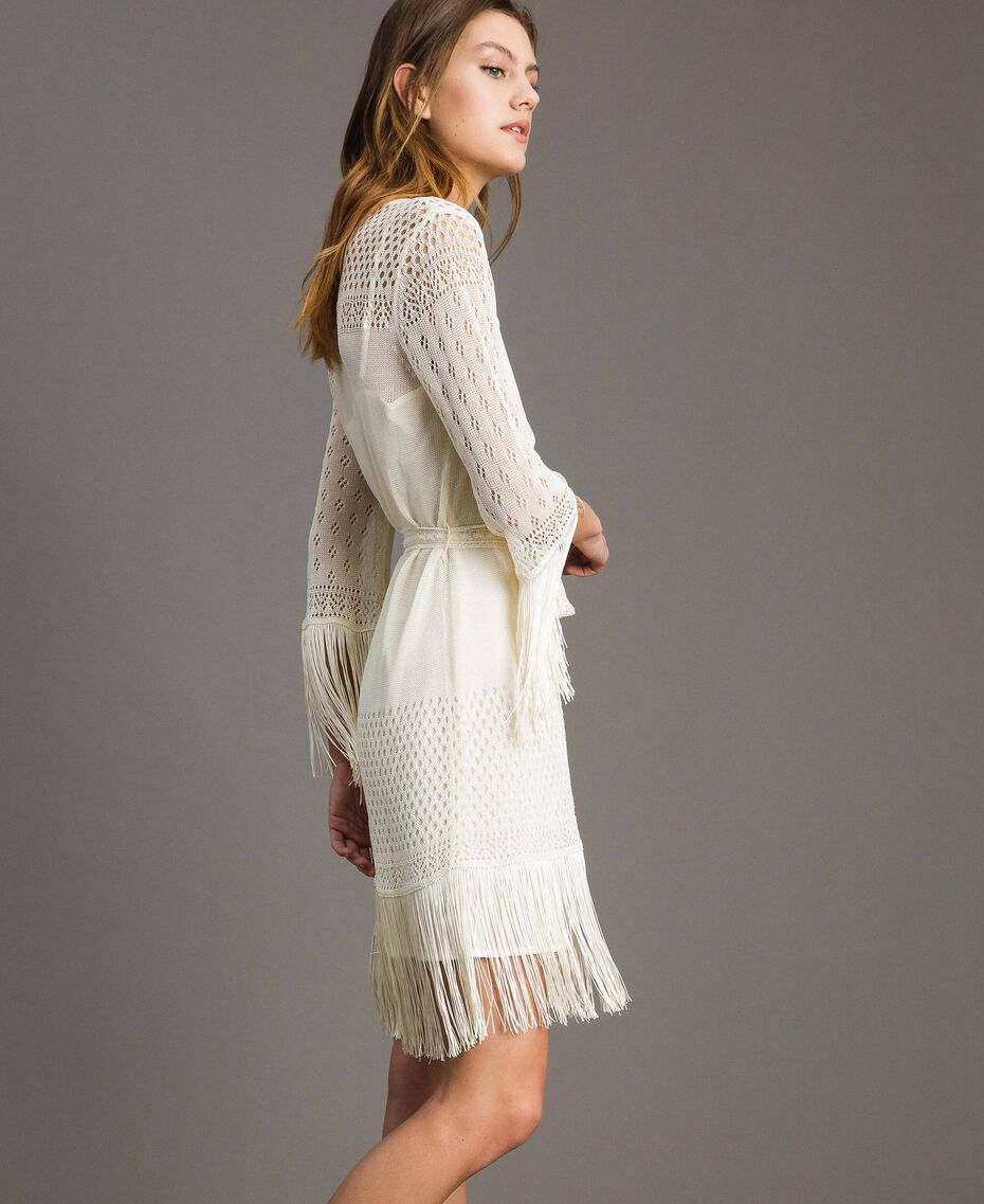 Robe en point filet avec franges Écru Femme 191TT3060-03