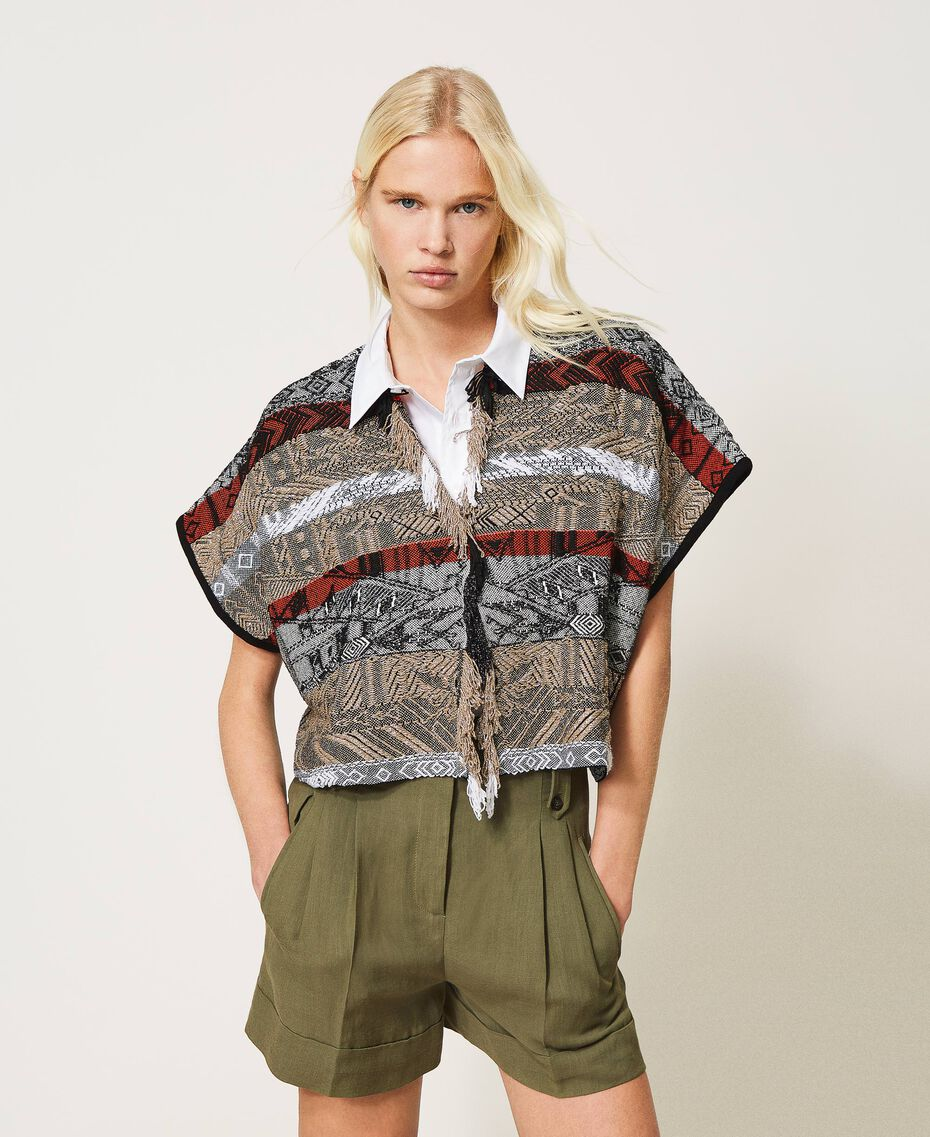 Jacquard cardigan with fringes Multicolour Jacquard Textured Woman 211TT3270-01