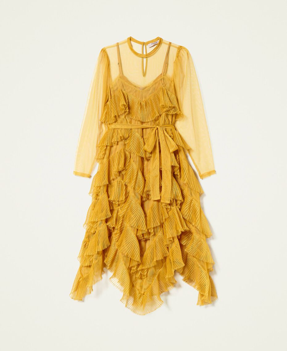 Pleated flounce tulle dress Saffron Yellow Woman 212TP2200-0S
