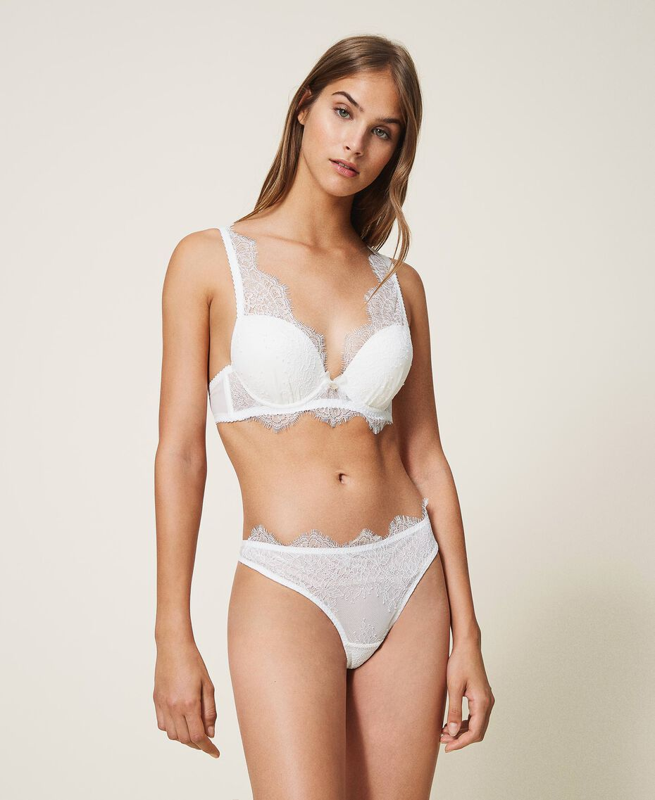 Lace and tulle bralette Ivory Woman 202LI6133-01