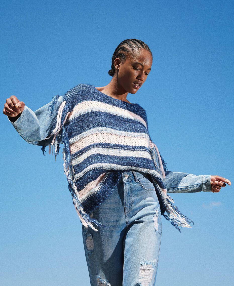 Трикотажная кофта с джинсовыми рукавами Разноцветный Смешанный Синий Трикотаж / Светлый Деним женщина 202MP3466-01
