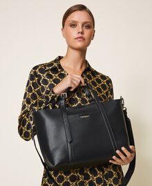 Faux leather shopping bag Black Woman 202TD8110-0S
