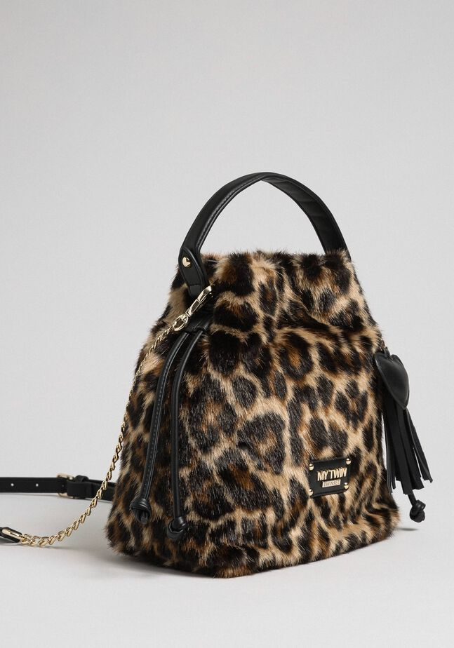 Faux fur bucket bag with animal print