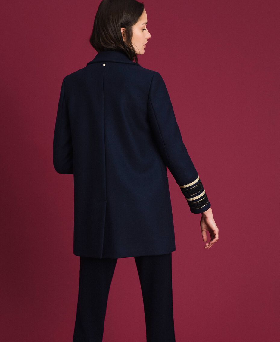 Double breasted wool cloth coat Midnight Blue Woman 192TT2161-03