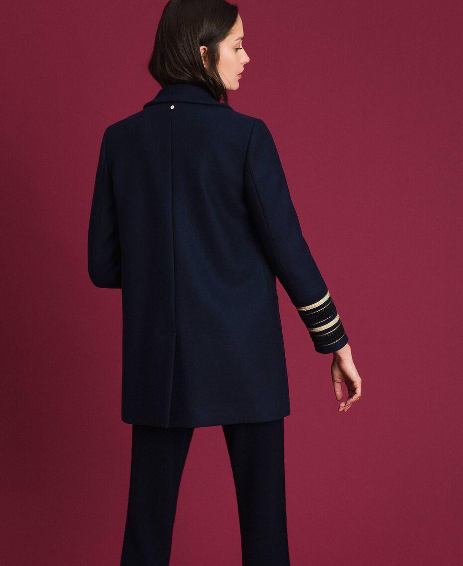 Manteau croisé en drap Midnight Bleu Femme 192TT2161-03