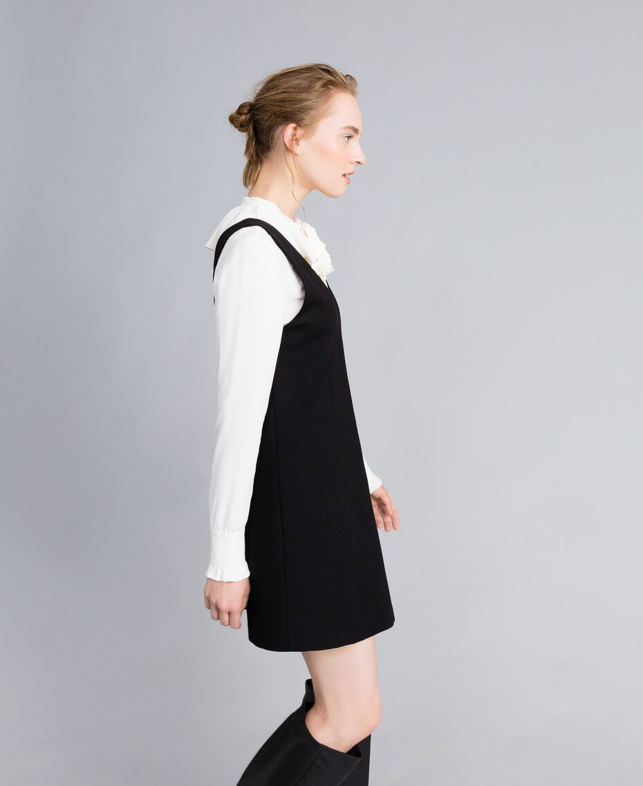 Ärmelloses Kleid mit Bluse aus Seidenmischung Zweifarbig Schwarz / Schneeweiß Frau PA8211-02