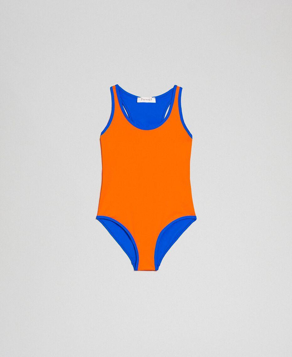 One-piece swimsuit Fluorescent Orange / Fluorescent Blue Child 191TQM026-01