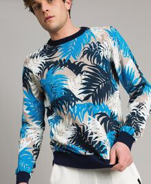 """Crêpe cotton printed jumper All Over """"Palms"""" Camouflage Print Man 191UT3060-02"""
